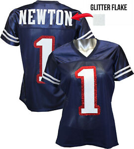 Custom Womens Blinged Football NAVY/White Jersey, Cam Newton, New England