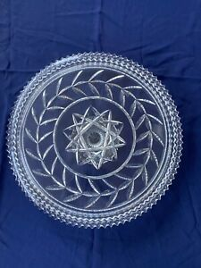 CLEAR GLASS Vine Pattern CAKE Plate/STAND With Zig Zag Edge