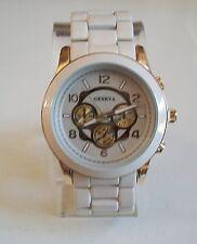 Men's Gold/Beige finish designer inspired style fashion Geneva link watch