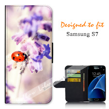 Samsung Galaxy S7 Wallet Flip Phone Case Cover Pretty Lady Bug Y00888