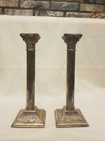 Pair of Antique Victorian Silver-Plate Corinthian Column Candlesticks