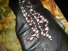 Vintage Black Leather Crochet Battenburg Gloves