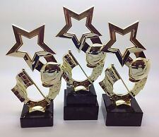 SET OF THREE 1st 2nd 3rd MOTOR SPORT BMX KARTING BIKE MOTO X TROPHIES & AWARDS