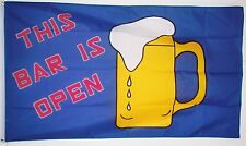 THIS BAR IS OPEN 5 X 3 FEET FLAG polyester FESTIVAL PUB PARTY BARBEQUE BEER