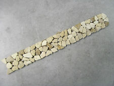 NATURAL TRAVERTINE PEBBLE BORDER - BROWN MIX 30cm x 4cm