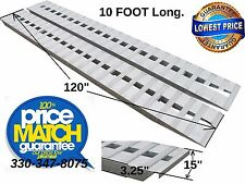"10' X 15"" Aluminum Loading Ramps Car Truck 5,000 lb Hook end, knife Foot, (SET)"
