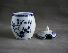 18th c. Blue & White Tournai Porcelain Covered Mustard Pot c. 1770