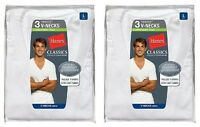 6 Hanes Classics Men's Traditional Fit White V-Neck T-Shirts Undershirt S - 4XL