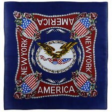 Blue Bandana Bandanna Scarf with The Eagle Rose And Other Symbols Of American Cu