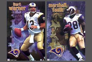 Vintage Original St. Louis Rams 2000 Kurt Warner and Marshall Faulk 2 POSTER SET