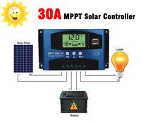12V-24V MPPT 30A Solar Panel Regulator Charge Controller Auto Focus Dual USB