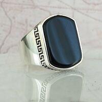 Turkish Ottoman Black Onyx Gemstone Solid 925 Sterling Silver Mens Ring