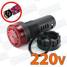 Zumbador panel con LED 220v 22mm 80dB 20mA ROJO Buzzer señal