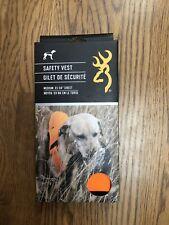 New Browning Sporting Dog Safety Vest Orange Adjustable Hunting Fieldwork Medium