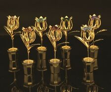 24K Gold plated SET OF 7 COLOR TULIPS Table Display w/ Swarovski Crystal Element