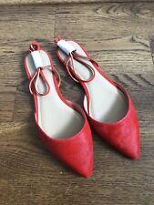 NEW Women's $110 Banana Republic Orange Suede / Fur Flat Summer Shoes Size 9.5