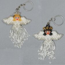 Angels Christmas Key Chain Ring Holder Glass Artisan Beads Lot Wholesale 6 Pack