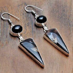 """Stick Agate Black Onyx Handmade Drop Dangle Earrings Jewelry 2.48"""" AE 36023"""