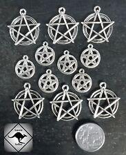 PENTAGRAM Wicca Silver Charm Pendants. 12 Pieces. DIY Jewellery. Pagan,
