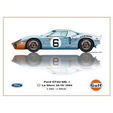Print on paper Gulf Ford GT40 MKl #6 Ickx / Oliver Winners 24h LM 1969