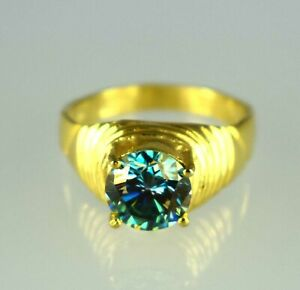 4.86 Ct Blue Diamond Solitaire Gold Finish Men's Designer Ring
