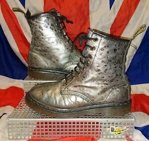 Rare*Silver Green Croco Croc Dr Doc Martens*Goth Punk Grunge*Soft Leather*UK 5
