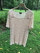 7 W lace top/blouse/shirt beige  size 3 X
