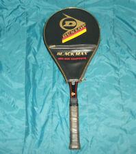 "Dunlop Black Max Graphite Glass Composite Tennis Racket 1980s Mid Size 4 1/2"""