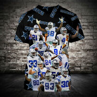 Dallas Cowboys 3D Short Sleeve T-Shirt Casual Tops Tee NFL Football fan's Gift
