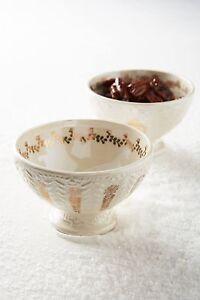NEW Anthropologie Gold Dark Yellow Solstice Sonnet Nut Dessert Decorative Bowl