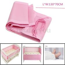 130x70cm Pink Breathable Infant Baby Bed Mesh Bumper Crib Liner Protection Pad