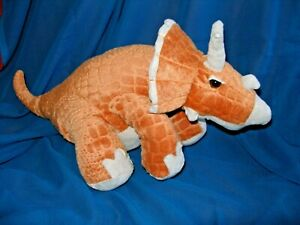 Animal Adventure Orange & Tan Triceratops Stuffed Plush Dinosaur