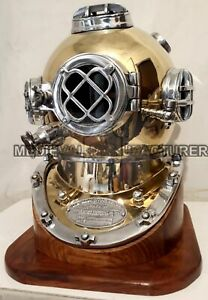 Nautical U.S Navy Scuba Mark V Diving Divers Helmet 18 Inch With Wooden Base