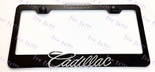 Cadillac Script 3D Emblem Black Stainless Steel License Plate Frame Rust Free