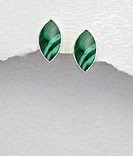 12mm SOLID Sterling Silver 925 Genuine Green Malachite Marquis Studs Earrings