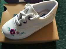 Sneakers Keds Leather Lace White + Purple Flowers NEW Little Girls Size 7 1/2