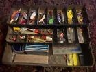 Vintage Lot Of Antique Fishing Lures Reels Flys Tackle Box Hooks Bobbers Fish