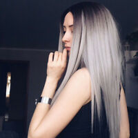 Women Ombre Neat Long Straight Silver Grey Hair Wigs For Party Cosplay Costume