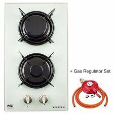 Gas Hob 2 burner Built-in 30cm White Glass Freestanding LPG / NG Domino-G NEW
