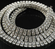New Mens White Gold Finish Simulated Diamond 2 Row White Necklace Chain 30 Inch