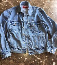 Vtg Wrangler Hero Denim Jean Trucker Jacket 6 pockets Distressed/Destroyed L