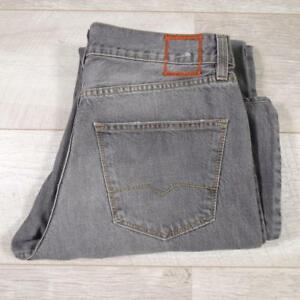 "Mens HUGO BOSS HB2 33""W 33""L Designer Stonewashed Grey Denim Jeans #F3020"
