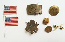 Old WWII US Army Military hat badge brass belt buckle flags screw back pin LOT