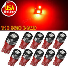 10X Pure Red T10 High Power 5630 SMD LED Dome Map Side Marker Light Bulb W5W 194
