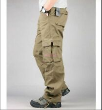 Mens Cotton Blend Loose Straight Cargo Pants Military Trousers Overalls Khaki 38