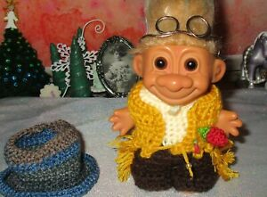 "RUSS TROLL in ooak Outfit 4"" New Hair Hat Vest Rose Glasses Pants Western Gold"