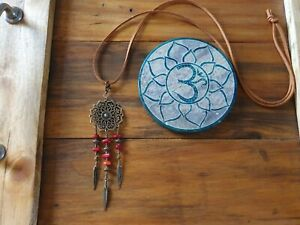 Mandala DreamCatcher Necklace Red Coral Crystal Beads, Bronze & Leather GypsyLee