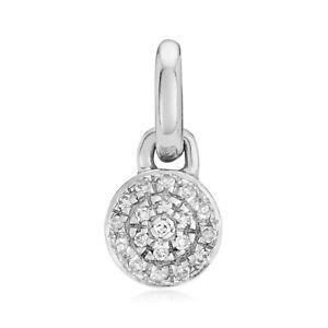 Monica Vinader Fiji Mini Button Diamond Pendant Charm - Sterling Silver RRP £150
