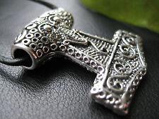 Thor s Hammer 925'er silber + Lederband Kettenanhänger Mjölnir / KA 147