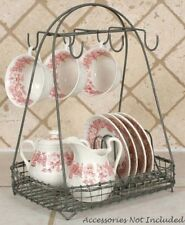 FARMHOUSE DISH AND CUP CADDY ORGANIZER PRIMITIVE RUSTIC GRAY VINTAGE STYLE CHIC